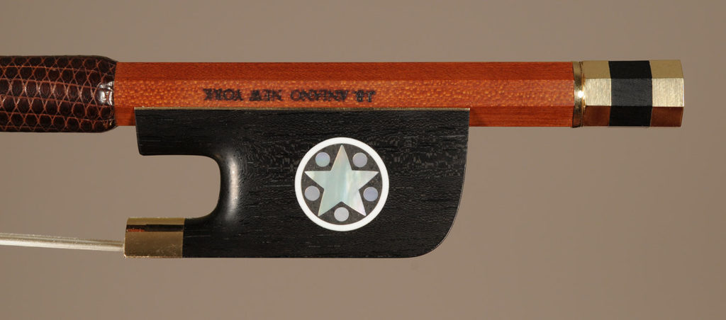 Viola Bow gold-mounted ebony frog with inlayed sides and divided button.