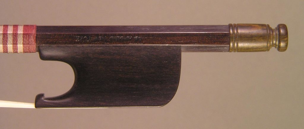 Classical Cello Bow open trench ebony frog and greenheart button.