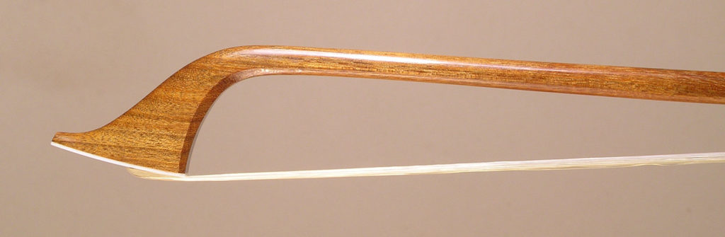 Classical Violin Bow with pernambuco stick, open trench ebony frog and fossil ivory button. Copy of John Dodd circa 1795.