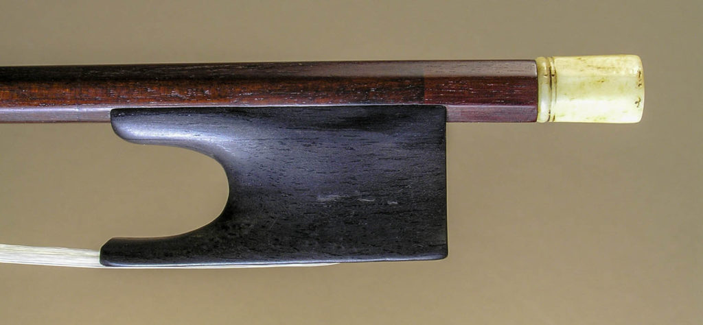 Dodd violin bow frog and stick, after repair
