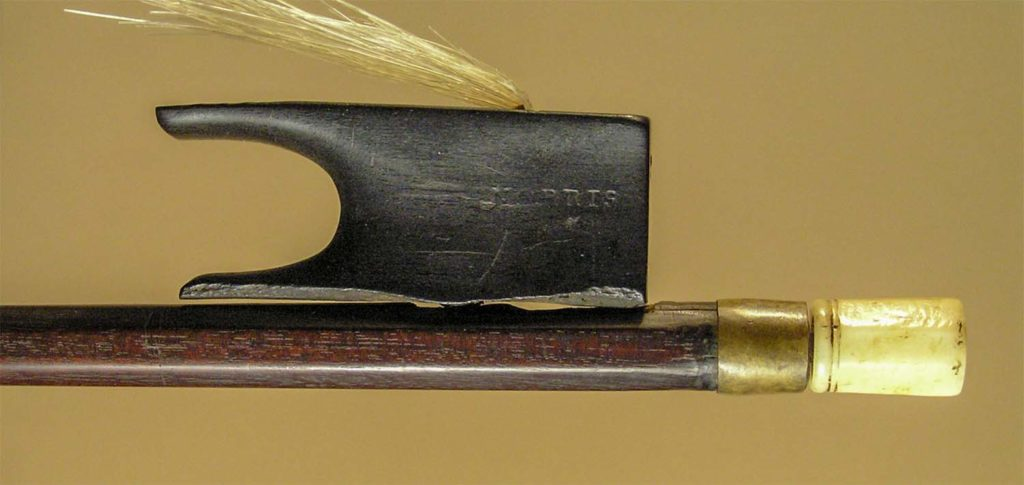 Dodd violin bow frog and stick, before repair