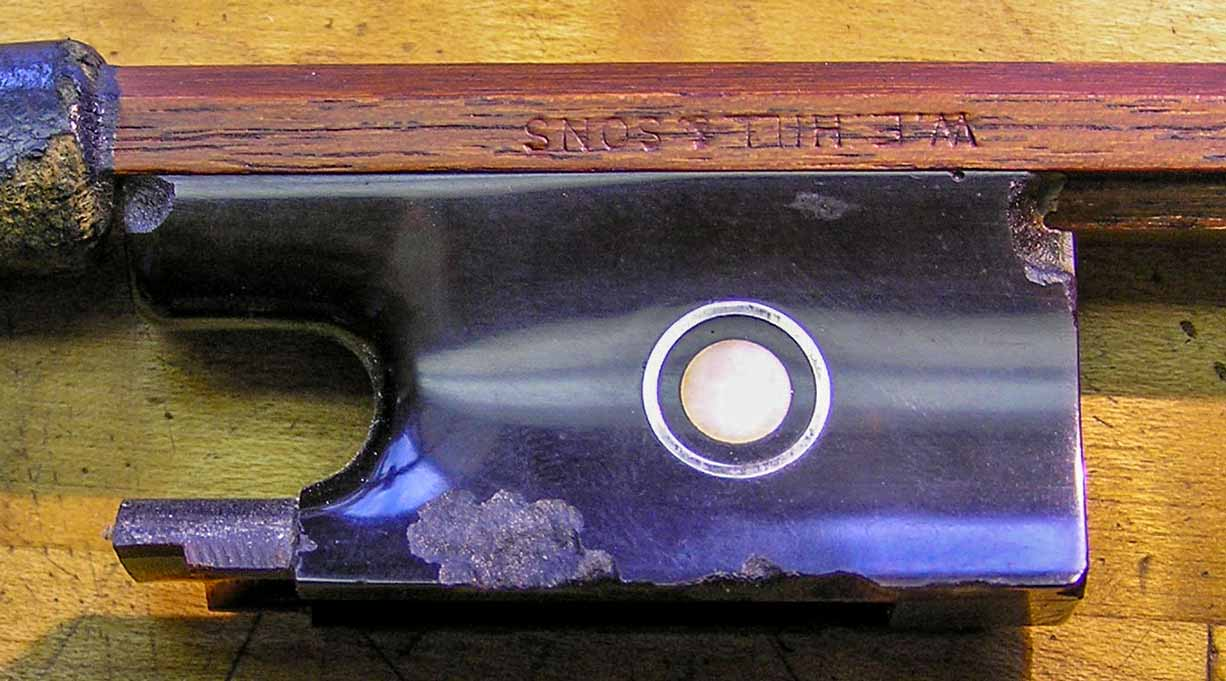 WE Hill & Sons violin bow tortoiseshell frog with extensive mite damage